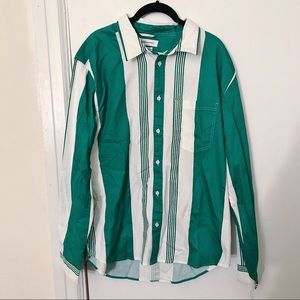 Urban Outfitters Green and White Striped Shirt